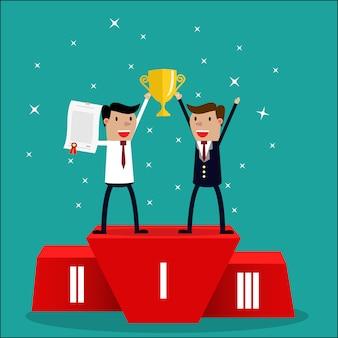 Business team gewinner steht auf dem ersten platz