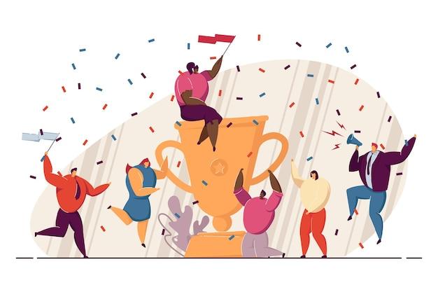 Business-team gibt gewinnerparty, feiert erfolg