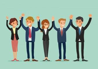 Business-Team Händchen haltend zusammen