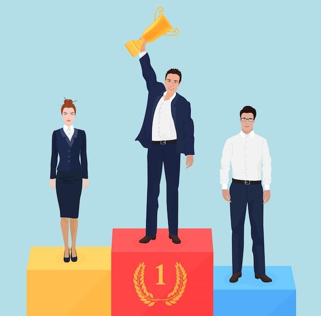 Business team leader auf dem siegertreppchen