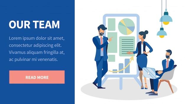 Business team presentation landing page-vorlage
