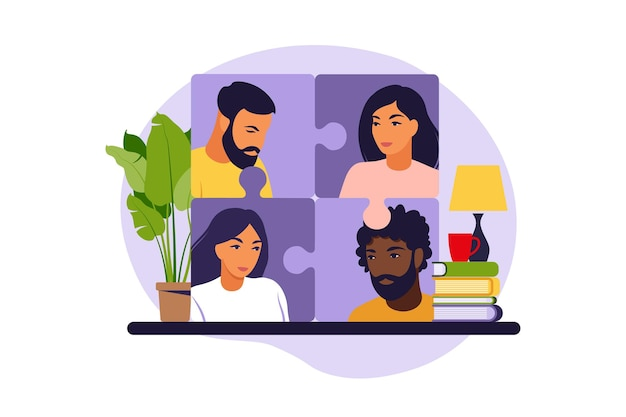 Business-team puzzle zusammenstellen. cartoon-partner arbeiten in verbindung.