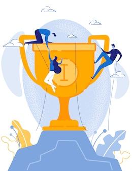 Business team steigt mit dem seil auf den trophy cup
