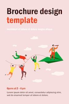 Business team und teamwork metapher. leute, die seil des papierflugzeugs halten, teamleiter mit fernglas, das vor steht. illustration für geschäft, planung, herausforderungskonzept