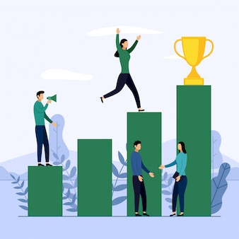 Business-team und wettbewerb, leistung, erfolgreich, herausforderung, geschäft