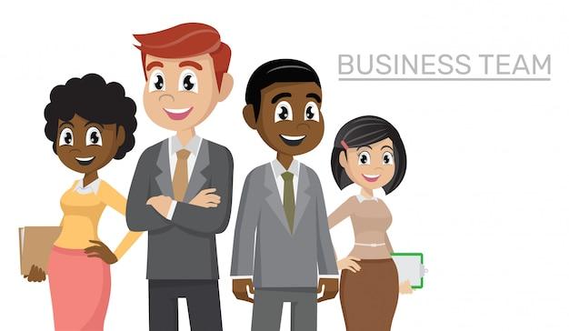 Business-team von mitarbeitern und dem chef.