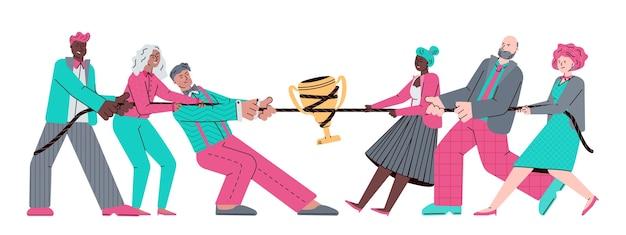 Business-teams tauziehen wettbewerb um golden trophy cup, wettbewerbsfähige teamarbeit und führung.