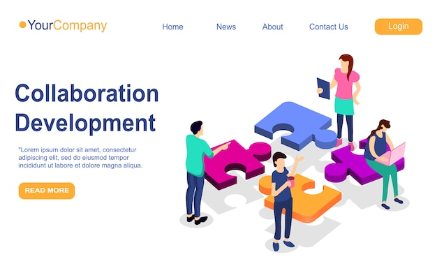 Business teamwork landing page