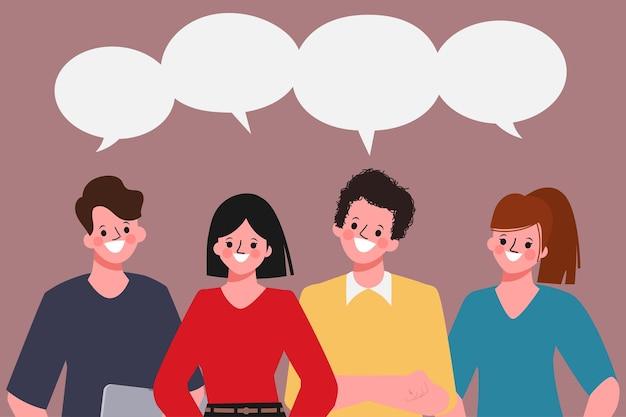 Business-teamwork-leute, die zum brainstorming stehen und diskutieren.