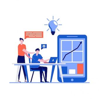 Business teamwork und coworking office-konzept mit charakteren. junger mann trifft sich mit junger frau und verwendet laptop, um daten zu analysieren.