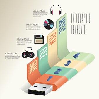 Business-technologie info-grafikvorlage