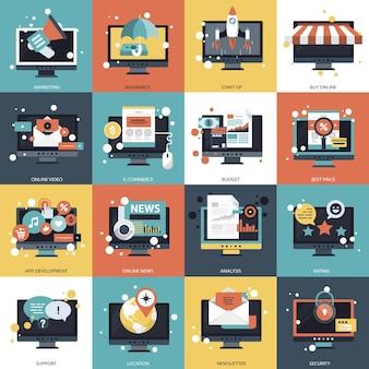 Business-technologie und management-set-illustration