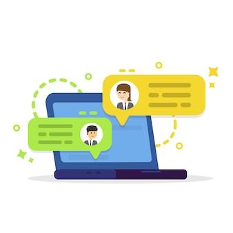 Business-telefonkonferenz. online-besprechung oder diskussion über eine webanwendung