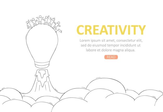 Business-template mit launch-glühbirne. handgezeichnete cartoon-illustration
