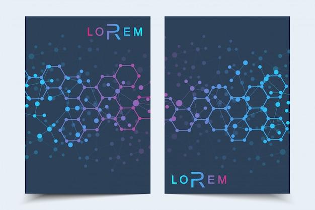 Business templates broschüre, magazin, faltblatt, flyer, cover, booklet, geschäftsbericht. wissenschaftliches konzept für medizin, technik, chemie. hexagonale molekülstruktur. dna, atom, neuronen