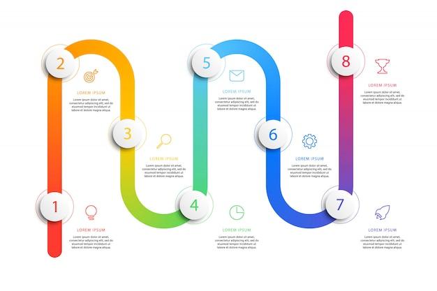 Business timeline workflow infografiken mit realistischen runden 3d-elementen.