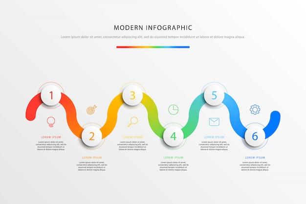 Business-timeline-workflow-infografiken mit sechs realistischen runden 3d-elementen.