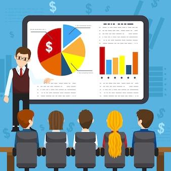 Business-training flache ikonen-kreativkonzeptillustration, trainer, der training hält, leute auf präsentation, auf blauem hintergrund, für poster und banner