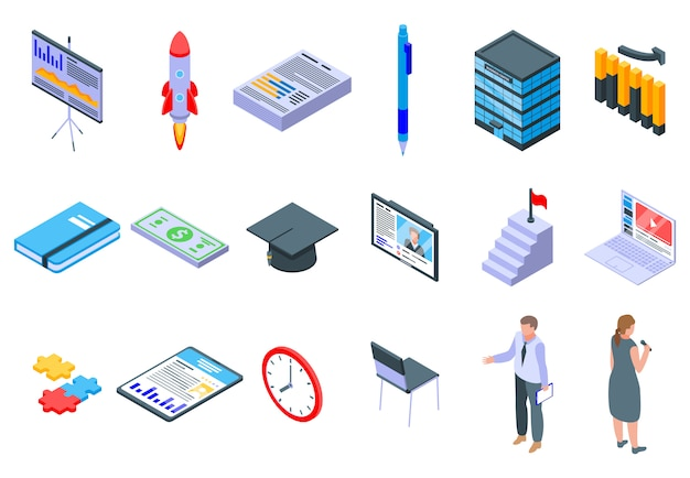 Business training icons eingestellt
