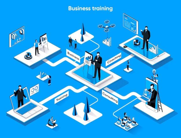 Business training isometrische web-banner flache isometrie