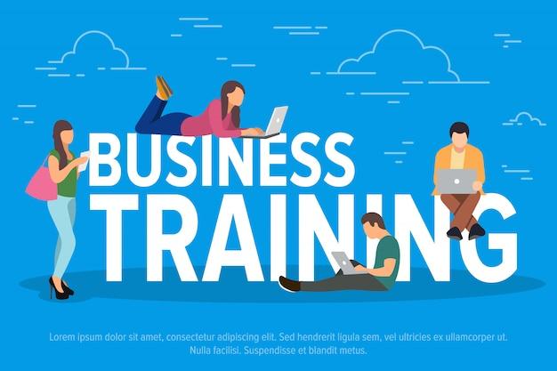 Business training konzept illustration. geschäftsleute, die geräte für fernarbeit und berufliches wachstum verwenden.