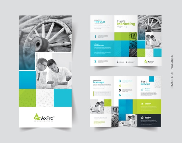 Business-trifold-broschüre mit boxen