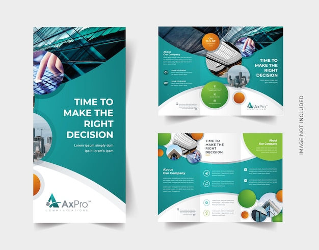 Business-trifold-broschüre mit cricle