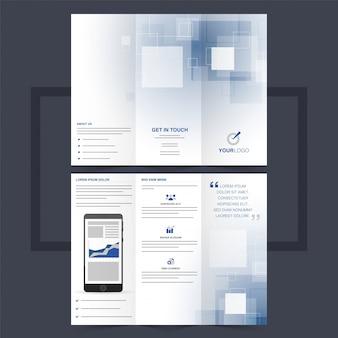 Business trifold broschüre oder flyer design mit quadraten.
