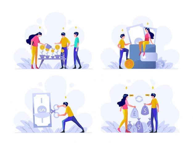 Business und finanzen illustration flachen farbverlauf design-stil, geldwachstum, geld sparen in brieftasche, steuerzahlung, geldwechsler euro zu dollar