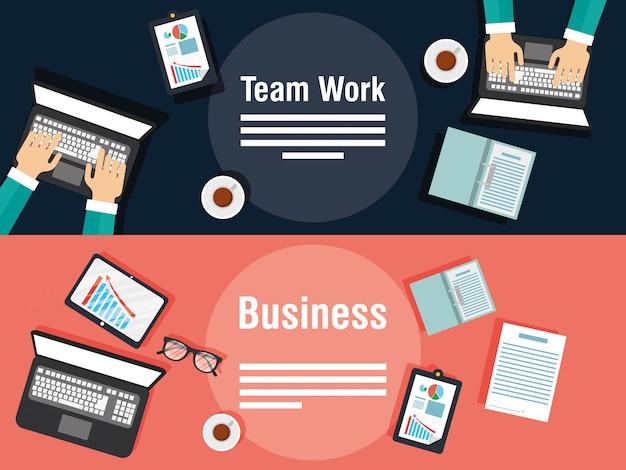 Business- und teamwork-banner mit gadgets