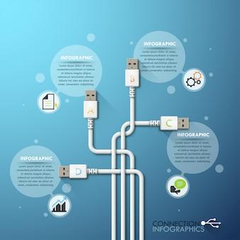 Business-usb-anschluss infografiken vorlage