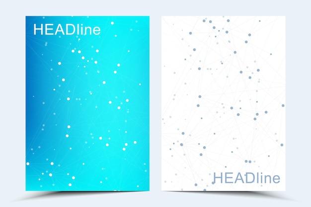 Business-vektorvorlagen für broschüre, cover, flyer, jahresbericht, broschüre. abstrakte komposition mit molekülstruktur, punkten, linien. wellenfluss. wissenschaft, medizin, technologiehintergrund