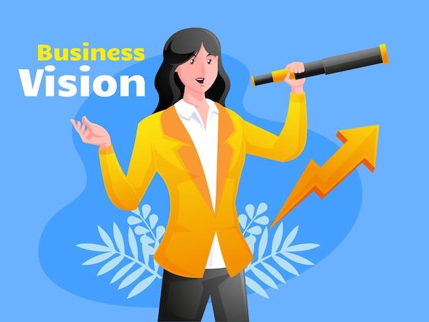 Business vision illustration mit teleskop