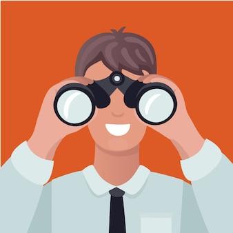 Business vision konzept. mann, der durch fernglas schaut und diagramme sieht