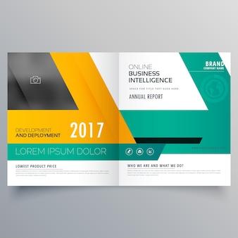 Business-vorlage für bifold broschüre flyer design in gelb grün farbe