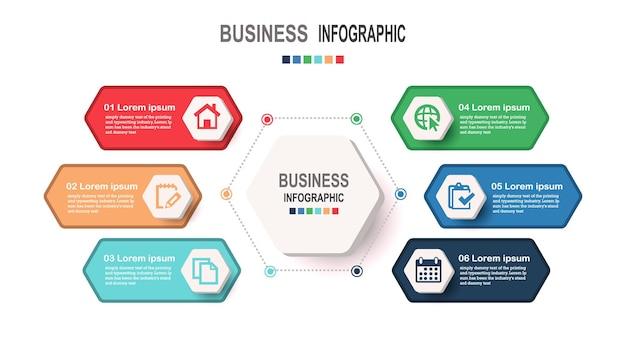 Business-vorlage für infografiken mit 6 schritten