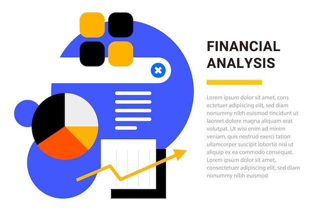 Business-vorlage mit darstellung von finanzdiagramm und diagramm auf weißem hintergrund