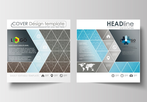 Business-vorlagen für quadratische broschüren, magazine, flyer.