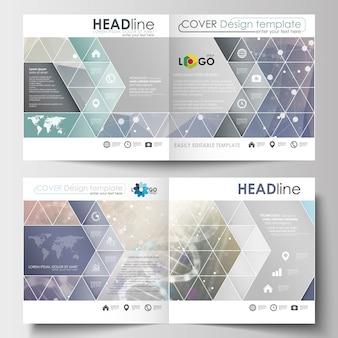 Business-vorlagen für quadratische design-broschüren, magazine, flyer, broschüren, berichte.