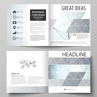 Business-vorlagen für quadratisches design bi-fold-broschüre, flyer, bericht.
