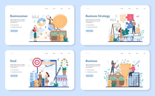 Business web banner oder landing page set