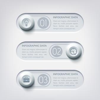 Business-web-infografiken mit drei horizontalen bannern, runden schaltflächen und symbolen in grauen farben