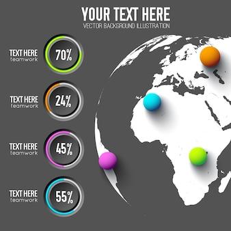 Business-web-infografiken mit prozentsatz der runden schaltflächen und bunten kugeln auf der weltkarte