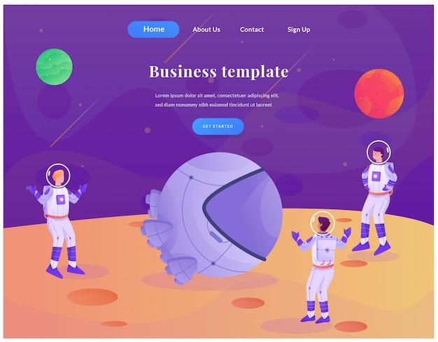 Business web landing page astronaut