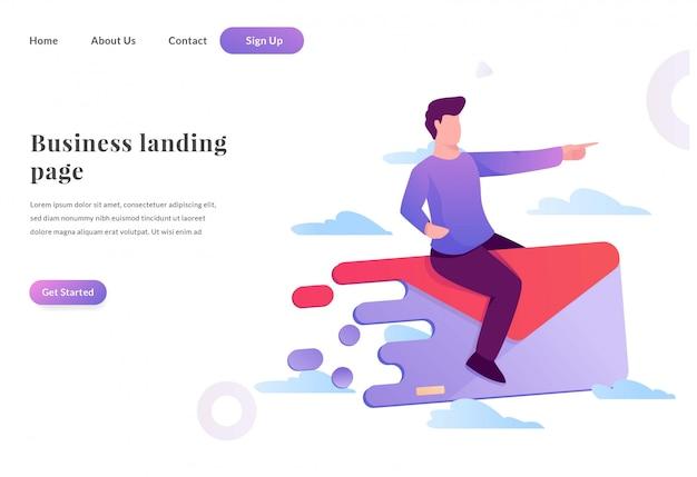 Business web landing page nachrichtendienst