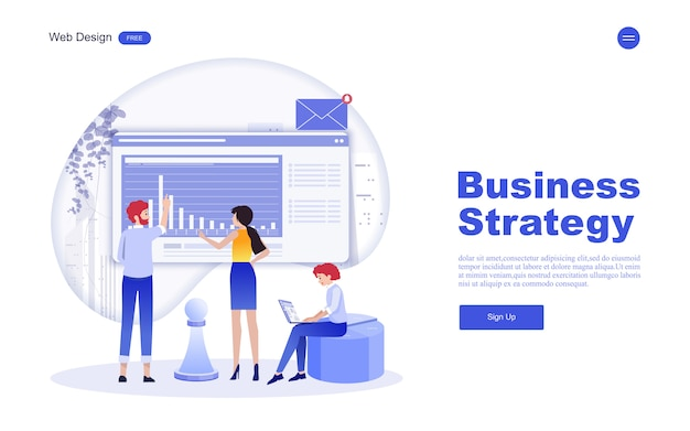 Business-web-vorlage für marketing, analyse und teamarbeit