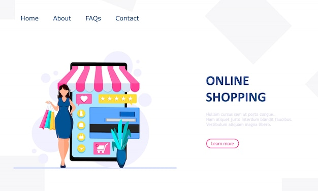 Business-web-vorlage mit online-shop