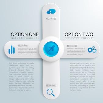 Business-webdesign-infografiken mit grauen fahnen des textes in der blauen kreisikonenillustration der kreuzform