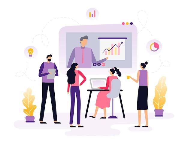 Business-webinar im flat design