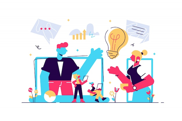 Business-webinar. internetkurse und fernkurse. online-geschäftskonferenz, besprechung und verhandlungen, partnervereinbarungskonzept. isolierte konzept kreative illustration